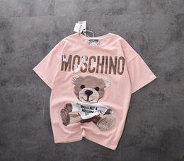 2019 плюс размер одежды Женские короткие рукава лето новый мультфильм медведи патч короткие рукава мода основные возрасты розовый короткие рукава