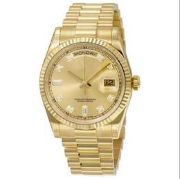 orologio maschio orologio Sconti TOP Luxury Brand 18K Gold Presidente Day-Date Sapphire Cystal Geneva Orologi da uomo Movimento meccanico automatico Orologi da polso maschile Relo 00040