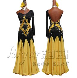 Competencia De Baile Moderno Vestidos Vestidos De Desempeño Negro Inclinado Hombro Luz Amarillo Bordado Agua Diamante