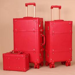 bloqueo de equipaje de dibujos animados Rebajas Las mujeres cuero de la PU de lujo del equipaje del balanceo fija con el bolso de la caja de embarque Casado rojo bolsa de viaje maleta trolley festivo Spinner