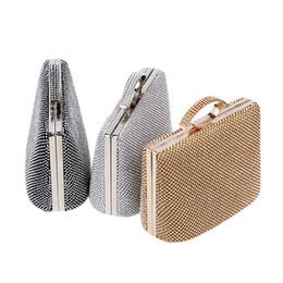 elegantes bolsos negros Rebajas Bolso de noche de cristal para mujer, lleno de diamantes, elegante, señora, día, bolsos de embrague, plata, oro, negro, bolsa de hombro.