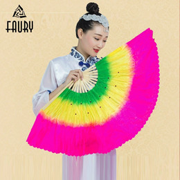 Trajes de dois lados on-line-Adulto traje de dois lados Yangge Dance Fan desempenho gradiente de cor praça palco Prop dança de seda Fan decoração Ideal concorrência