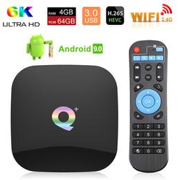 2019 set-top box de android tv Q PLUS 4 gb 32 gb 64 gb Allwinner H6 Android 9.0 caja de tv caja de conexión decodificador H.265 6K Smart TV Box set-top box de android tv baratos