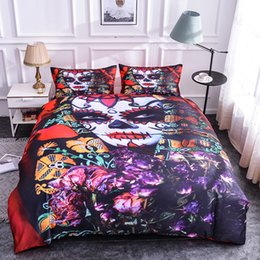 3d quilts covers king size Promo Codes - Boniu Sex Girl with Skull Duvet Cover Set Quilt Cover Set 3D Sugar Skull Bedding Twin Queen  King Size Bedding Halloween