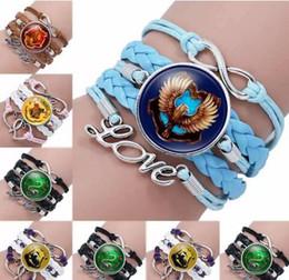 seil liebe unendlichkeit armband Rabatt Harry Infinity Love Leder Manschette Armband für Mädchen Seil wickeln Armbänder Potter Zeit Edelstein Magic Academy Abzeichen Multilayer Weave Armband