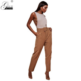 e4e1c43b2ff Gold Hands Autumn Winter New Arrival Ankle-Length Streetwear Office Lady  High Waist Casual Sashes Solid Straight Momen s Pants. Supplier  tuojin