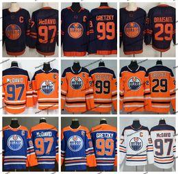 Camisa azul alaranjada do hóquei on-line-2019 novo terceiro Edmonton Oilers 97 Connor McDavid 99 Wayne Gretzky 29 leon draisaitl Início Laranja Hockey Jerseys Azul