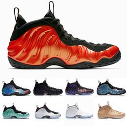 Tenis hardaway vermelho on-line-Nike Air Penny Hardaway Homens Sapatos De Basquete Espuma de Um Abalone Habanero Vermelho Preto Metálico Ouro Alternativa Galaxy Esportes Mens Mensageiro Sneaker Tamanho