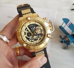 Резиновые наручные часы онлайн-Швейцарский cosc Люксовый бренд INVICTA Gold Watch Все сабвуферы рабочие Мужские спортивные кварцевые часы Хронограф Авто дата с резинкой