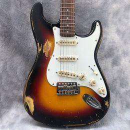 mejor guitarra hueca Rebajas color de sol haga electrodomésticos viejos, guitarra eléctrica manual de envejecimiento de los equipos, nitro pintura de color de sol, talla de la mano. Envío gratis