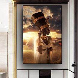 Arte de óleo nus on-line-Pintura Mulher Art Black and Gold Nude Africano Oil Sunset on Posters Canvas Cuadros e cópias de imagem Wall Art para sala de estar