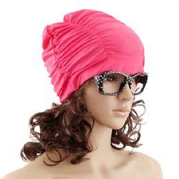 2019 schwimmen hüte für lange haare Badekappe Lady Long Stretch drapieren Haare Mädchen Womens Swim Hat Cap Baden günstig schwimmen hüte für lange haare