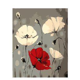 numero di pittura fiore Sconti Pittura a olio di DIY dai numeri Nordic Flower 50 * 40CM / 20 * 16 pollici su tela per la decorazione domestica Kit [Senza cornice]