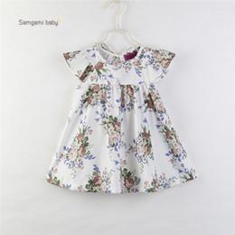 2258f5649877 kids girls simple dress 2019 - girl kids clothing dress Round Collar  Sleeveless Flower Print girl