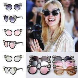 4ce28bf023 eyeglass frames crystal 2019 - HOT Luxury Crystal Cateye Women Sunglasses  MM Same Model Rhinestone Fashion
