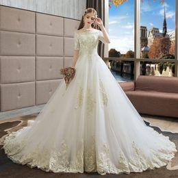 2019 grandes vestidos de noiva estilo princesa Vestidos de noiva estilo europeu nova noiva grandes estaleiros palavra coreana ombro mulheres grávidas longo à direita princesa sonho show magra grandes vestidos de noiva estilo princesa barato
