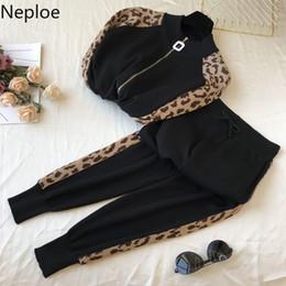 Neploe Ensemble 2 pièces Femmes 2020 printemps coréenne Tricoté Zipper Leopard Cousu Pull + Costumes Casual Pantalons Mode 49732 ? partir de fabricateur