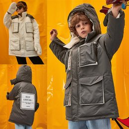 korean kids clothes down Coupons - 2019 Korean fashion children's winter jackets thermal wear ski clothes kids boys midi long duck down coats hooded