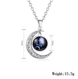 Luces colgantes de estilo japonés online-Estilo coreano colgante de acero de titanio noche estrellada luz doce constelación luna estrella combinación romántica unisex collar