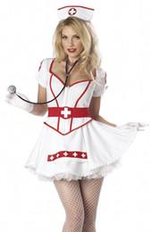 Uniforme de enfermeras de halloween online-Nueva llegada Sexy Tutu enfermera Fancy Dress Ladies uniforme para mujer enfermera disfraz disfraz de halloween