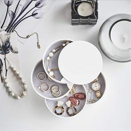 Exibição de brinco de jóias redondas on-line-360 Graus de Rotação Caixa De Armazenamento De Jóias 4 Camadas de Exibição de Jóias Caixa Redonda Organizador Colar Pulseira Anel Brinco Titular Multi-camada