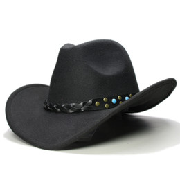 Homens tampa de brim de couro on-line-Pai-filho Vintage Mulheres Homens / Kid Lã Aba larga Cowboy ocidental Hat Cowgirl Bowler Cap Turquoise Bead pulseira de couro (57 centímetros / 54 centímetros