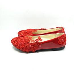Canada Chaussures de mariée à la mode en dentelle rouge pour dames cheap women bridal flats Offre