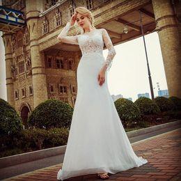 Long Sleeves Lace Organza Mantel Brautkleid 2018 Bateau Neck Brautkleider Button Zurück Brautkleider von Fabrikanten