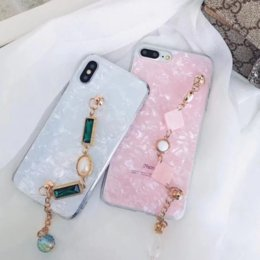 pink shell bracelet Promo Codes - Applicable iPhone11 mobile phone shell full temperament 8 7 anti-fall iPhoneXSMAX shell bracelet rhinestone protective sleeve spot