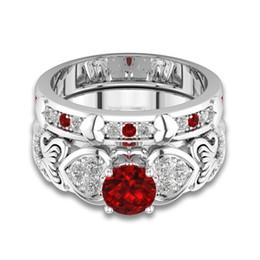 bijoux de pierres précieuses rubis Promotion 2018 Rouge Ruby Gemstone Sterling 925 Argent Anneaux De Mariage Pour Femmes De Mariée Fine Bijoux De Fiançailles Accessoires