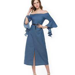 Argentina Agradable Nueva Moda Vestido de Primavera Mujeres Sexy Hombro Off Slip Dress Oficina L Largo Denim Mangas de pétalos supplier nice long dresses women Suministro