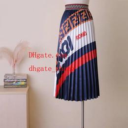 2019 Moda Elegante Cintura alta Larga Larga Maxi jupe Falda vintage Color de contraste Femme Mujeres Casual Señoras falda plisada Largo Jupe ka-p4 desde fabricantes
