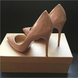 Spitzen zehen flachen mund schuhe online-Luxus roten unteren Schuh 2018 Mode Spitz High Heels Designer 9 Farben sexy flachen Mund Sohle hochhackigen Frauen Hochzeitskleid Schuh