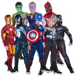 cosplay do músculo super-herói Desconto Captain America Avengers Cosplay Boy Muscle Superhero Costume Spiderman Batman Superman Homem de Ferro Capitão Macacão infantil