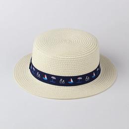 chapeau de soleil garçons crochet Promotion Garçons filles au crochet chapeaux Nouveaux enfants voile parapluie imprimé ruban princesse sunhat enfants herbe tresse crochet casquette soleil F7300