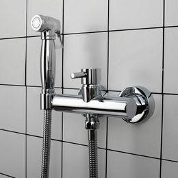 Cromo chapeamento de escova on-line-Pulverizador de bidê montado na parede Misturador de água fria e quente Torneira para bidê Cromado / Preto fosco / Latão dourado escovado