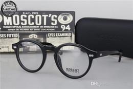 2019 blaue brillengestelle Marke Designer-Luxury vintage Moscot Miltzen Johnny Depp Brillen Brillen Optische Brille Blauer Myopie Brillengestell mit Org-Box günstig blaue brillengestelle