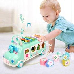 led produits en plastique Promotion Enfants Instruments De Musique Autobus Véhicule Jouet Alphabet Cadeau Early Learning Learning Learning Toys Nouveau Frappant Son Jouets