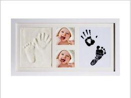 cópia da mão do pé Desconto Mão de bebê e pegada de tinta e lama Terno de Handprint-lama Bebê mão e pé impressão Oil Photo Frame Moldura de madeira sólida