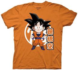 Wholesale Adulto dos homens de TV animado Dragon Ball Z Chibi Goku Com Kanji Laranja T shirt Engraçado frete grátis Unisex Casual Tshirt top