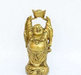 Ornamento de mão de buda on-line-Luz de cobre puro Maitreya Buddha ornamentos Feng Shui yuanbao riso Buddha ornamentos sala de estar em casa grande barriga mão de Buda lingote de elevador