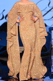 arabische stil partei kleider Rabatt Gold Pailletten Arabisch Dubai Stil Prom Kleider Mit Wickelärmeln Meerjungfrau Schulterfrei Rüschen Lange Abend Party Kleider