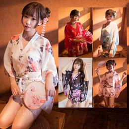 Tentação uniforme japonês on-line-Sexy Lingerie japonês Chiffon Kimono Transparente Tamanho Grande Fat MM Temptation pequeno baú Passion Terno Uniforme Feminino