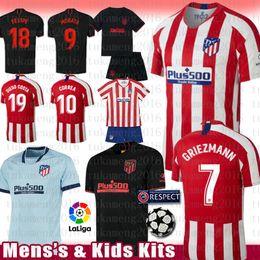 Mens Crianças Kits Madrid Atletico Soccer Jersey camisa de futebol 7 JOAO FELIX GRIEZMANN MORATA SAUL KOKE M.LLORENTE CORREA DIEGO COSTA LEMAR de Fornecedores de spain manga longa camisa de futebol