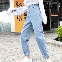 hoch taillierte jeans buttons weinlese Rabatt Frauen hoch taillierte jeans beiläufige lose knöchellangen hosen mode hosen taschen taste denim jeans pantalones vaqueros mujer