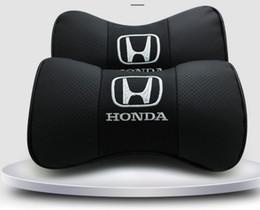 I sedili di honda si adattano online-Misura per Honda Car 2 pezzi in vera pelle seggiolino auto cuscino del collo poggiatesta auto poggiatesta