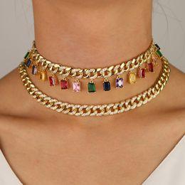 collar colgante multi de los hombres Rebajas Llenado de oro de ancho cadena de hiphop fuera de hielo multi colgante gargantilla para las mujeres hombres rainbw baguette CZ joyería de boda de moda