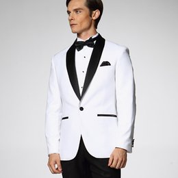 trajes azul real corbata roja Rebajas Traje para hombre blanco para el novio de la boda Smoking 2 piezas chaqueta + pantalones traje de padrino de boda traje de boda solapa mantón negro