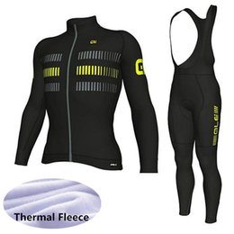 2018 new team Winter Thermal Fleece Cycling jersey ALE long sleeve bike bib  pants set 3D gel pad MTB Bicycle men s Pro cycling clothing 6bbe3b832