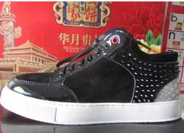 Zapatillas de deporte de los royaums online-Nueva moda High Top Royaums Rivet hombres zapatillas de deporte planas Python Multi-Color de zapatos de cuero 38-45